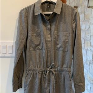 EUC Forever 21 Flannel Feel Gray Jumpsuit/Coverall